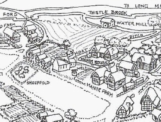 Detail from Plan of Hulcott by Honor Lewington. Click here for larger view